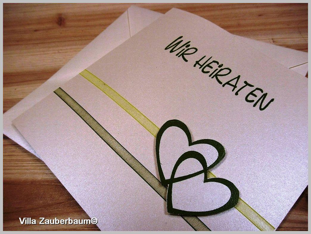 Hochzeitskarte Schimmerndes Papier Mit Zwei Organzabandern In Gruntonen Schriftzug Wir Heiraten Grun